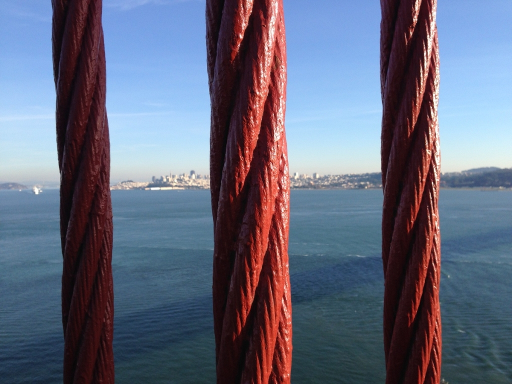 Giant cables holding up the Golden Gate Bridge, SF in the background.