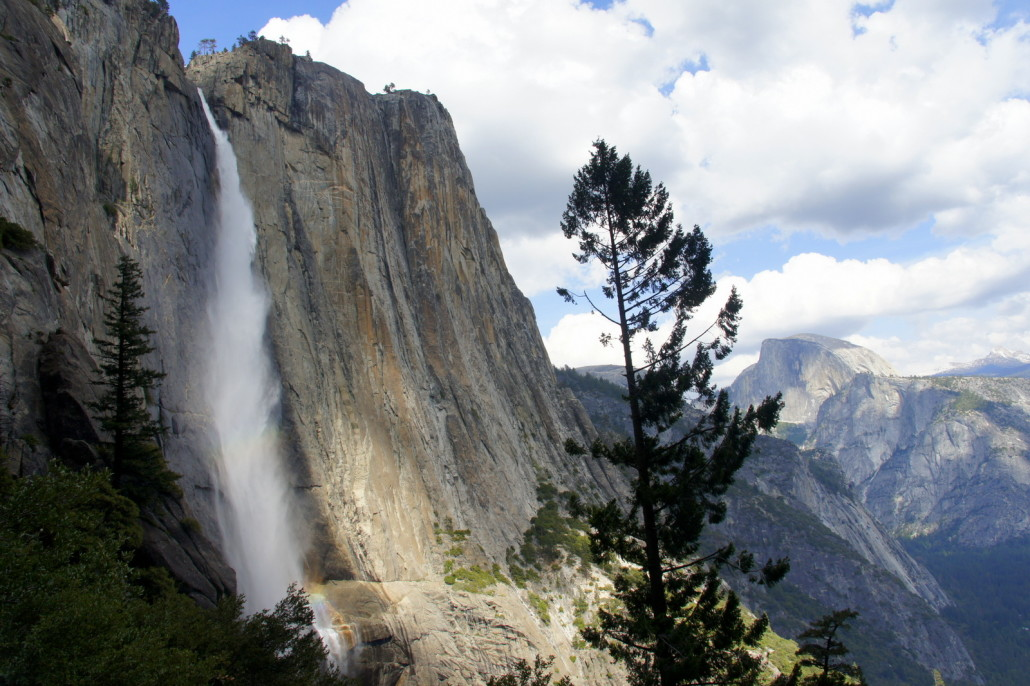 Yosemite Falls looking good with a view across the valley at Half Dome.